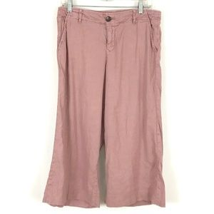 Anthro Level 99 linen blend wide leg cropped pants